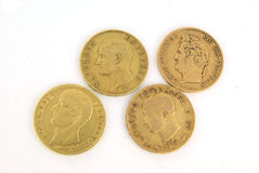 Gold bullion coins. Gold European bullion coins of XIX century Royalty Free Stock Photos