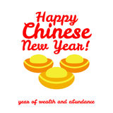 Gold bullion, congratulation to the Chinese New Year, wealth and abundance. Vector illustration of flat design Royalty Free Stock Photo