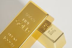 Gold bullion. On a white background Royalty Free Stock Photos