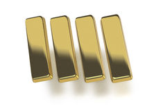 Gold bullion or ingots. In a row on white background Stock Photography