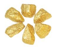 Gold bullion nuggets. Royalty Free Stock Photo