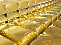 Gold bullion. Rows of gold bars 3d Royalty Free Stock Photography