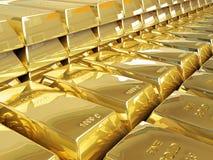 Gold bullion. Rows of gold bars 3d vector illustration