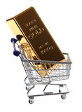 Gold bullion in shopping cart Stock Photography