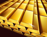 Gold bullion. Vector illustration. Stock Photos