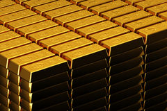 Gold bullions. A pile of nice shiny gold bars Stock Images