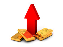 Gold bullions price rising arrow grow up Stock Image