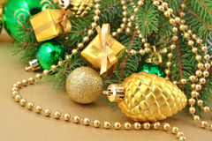 Gold bump and Christmas decorations Stock Image