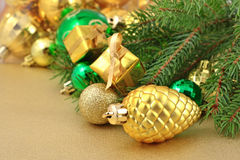 Gold bump and Christmas decorations Royalty Free Stock Image