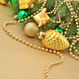 Gold bump and Christmas decorations Royalty Free Stock Images
