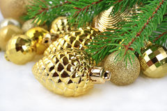 Gold bump and Christmas decorations Stock Images