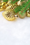 Gold bump and Christmas decorations Royalty Free Stock Photos