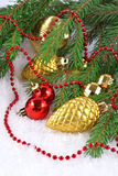 Gold bump and Christmas decorations Stock Photo