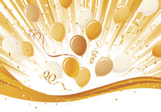 Gold Burst and Balloon Explosion Stock Images