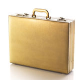 Gold business briefcase on white  Royalty Free Stock Photos