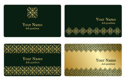 Gold business cards. A set of elegant templates with geometricl elements for  business cards, invitations, postcards. Color - gold and green. Vector Royalty Free Stock Photography