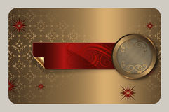 Gold business or gift card template. Stock Photo