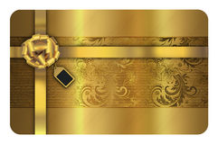Gold business or gift card template. Stock Image