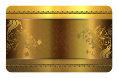 Gold business or gift card template. Stock Photos