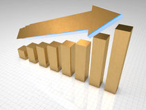 Gold business graph growth Royalty Free Stock Photo