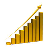Gold business graph up. Gold business graph with gold arrow up represents the growth, three-dimensional rendering Royalty Free Stock Image