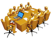 Gold businessmans work a round table Royalty Free Stock Image