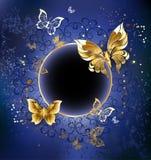 Gold butterflies on a blue background