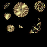 Gold butterflies and hearts Stock Image