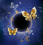 Gold Butterflies On A Blue Background Royalty Free Stock Image