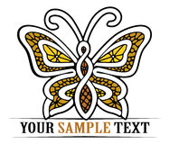 Gold butterfly. With lace pattern inside Royalty Free Stock Photo
