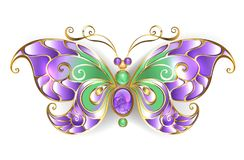 Gold butterfly with amethyst  Gold butterfly Royalty Free Stock Images