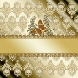 Gold butterfly damask background Stock Photos