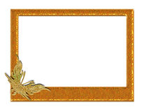 Gold butterfly frame royalty free stock images