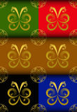 Gold butterfly Pattern Stock Photography