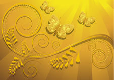 Gold butterfly on yellow radiant background Royalty Free Stock Photos