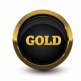 Gold button with black Stock Photos