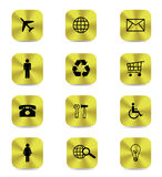 Gold button icons isolated Stock Images