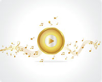 Gold button play music background Stock Photo