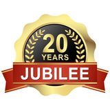 Button 20 years jubilee. Gold button with red banner for 20 years jubilee Royalty Free Stock Photo