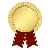 gold button with ribbon Royalty Free Stock Images