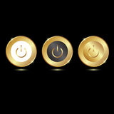 Gold button on the start. Three variants Royalty Free Stock Photography