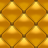 Gold button-tufted rhombic leather background Stock Image