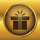 Gold button web icon present box Stock Photo