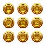 Gold button web icons, set 1 vector illustration