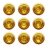 Gold button web icons, set 10 vector illustration