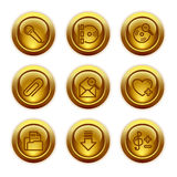 Gold button web icons, set 11 stock illustration