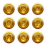 Gold button web icons, set 12 vector illustration