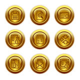 Gold button web icons, set 14. Vector icons set for internet, website, guides Royalty Free Stock Image