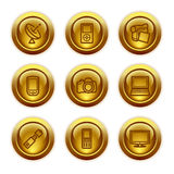 Gold button web icons, set 16. Vector icons set for internet, website, guides Royalty Free Stock Image