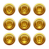 Gold button web icons, set 18 Royalty Free Stock Photo